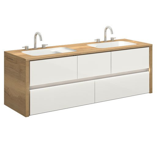 CATIDO 160B LED UNDER Moisture resistant Suspended Cabinet + Washbasin integrated with the Top