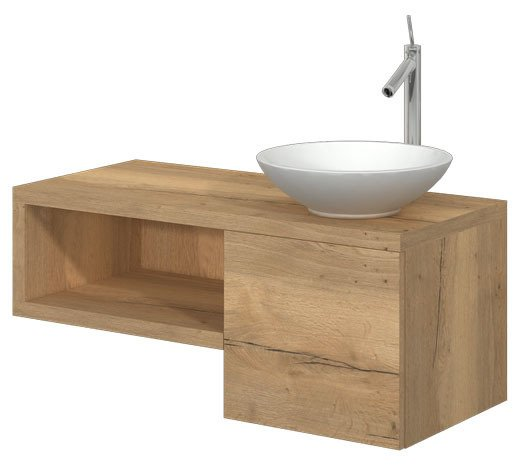 CATIDO 100 ROUND2 Moisture resistant Suspended Cabinet 100 cm + countertop Washbasin