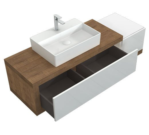CATIDO 120AB2 Moisture resistant Suspended Cabinet 120 cm + countertop Washbasin