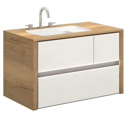CATIDO 90B LED UNDER Moisture resistant Suspended Cabinet + Washbasin integrated with the Top