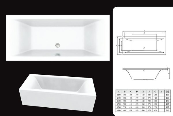 CATIDO Double Wave acrylic Rectangular Bath SLIM 2 White