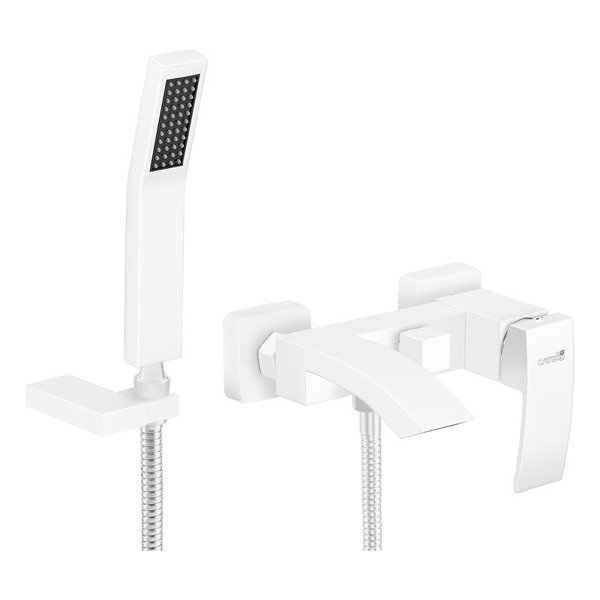 CATIDO Lumo LA3 Waterfall Bathtub Mixer Tap & Shower Handset White Matte