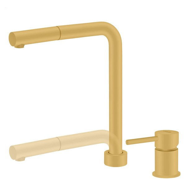 CATIDO Minimal SL30 Kitchen Pull Out Mixer Tap Gold Matte