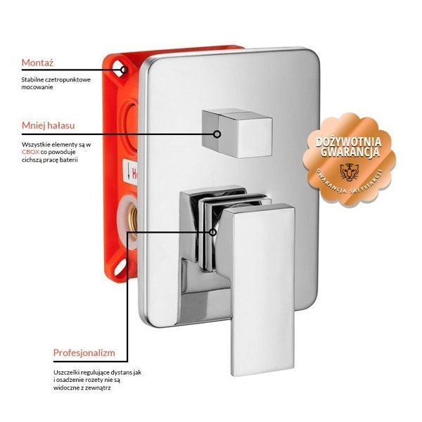 CATIDO SIMPLE CBOX PL1 Concealed Shower Mixer (glass rosette) White