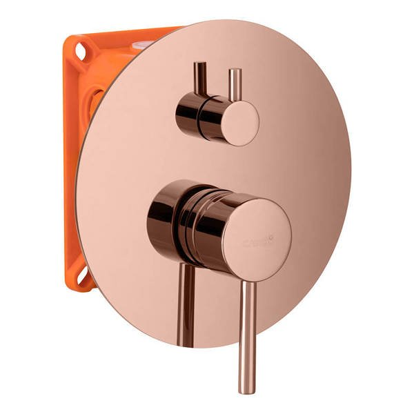 CATIDO Simple CBOX PL4 3mm rosette Concealed Shower Mixer Set PVD Shiny Rose Gold