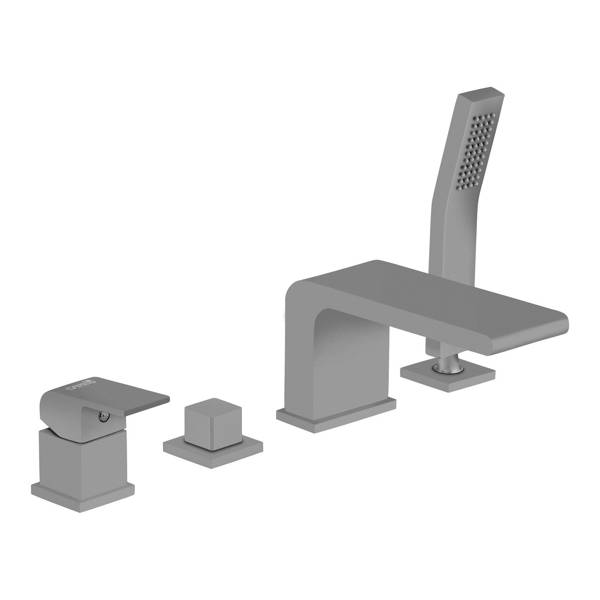 CATIDO VIDI PL7 4-Hole Bath Mixer Tap - Waterfall Effect Grey Matte