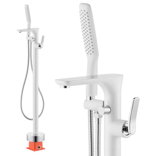 CATIDO Venice FG2 Freestanding Bath Mixer Tap With shower kit Shiny White