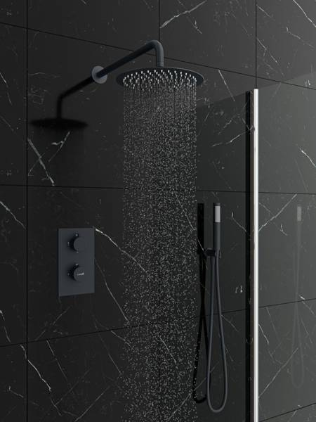 Catido SIMPLE TR3 Cbox Concealed Thermostatic round shower set Anthracite Matte