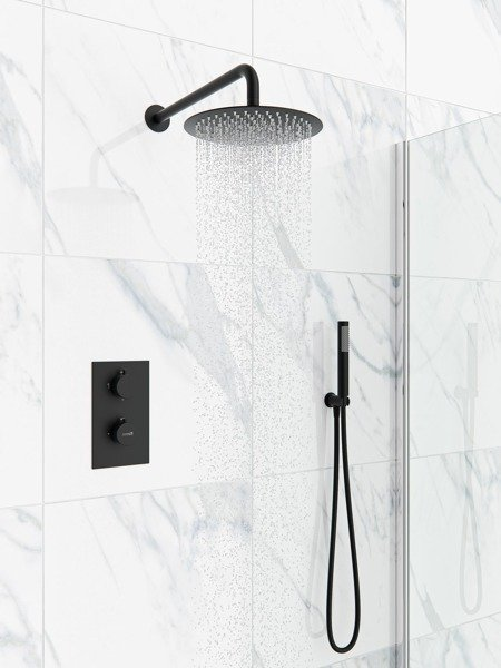 Catido SIMPLE TR3 Cbox Concealed Thermostatic round shower set Optimum Black Matte