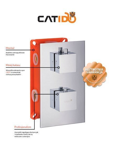 Catido VIDI TR12 Cbox Concealed Thermostatic Squere shower set Optimum Chrome